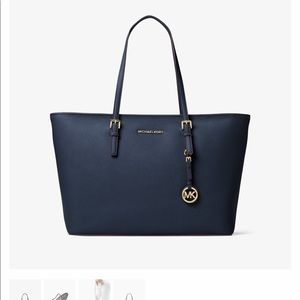 Michael Kors navy blue jet set travel purse